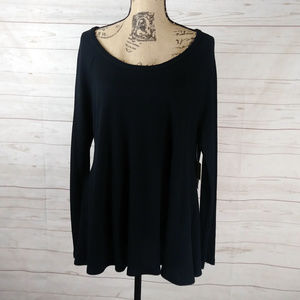 Waffle knit sweater a-line pull over long sleeve